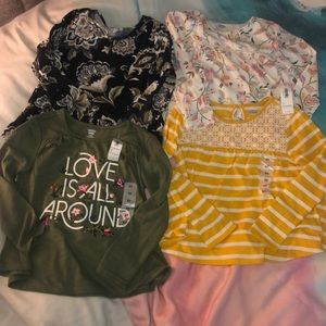 4 Old Navy Long Sleeve Shirts NEW 5T